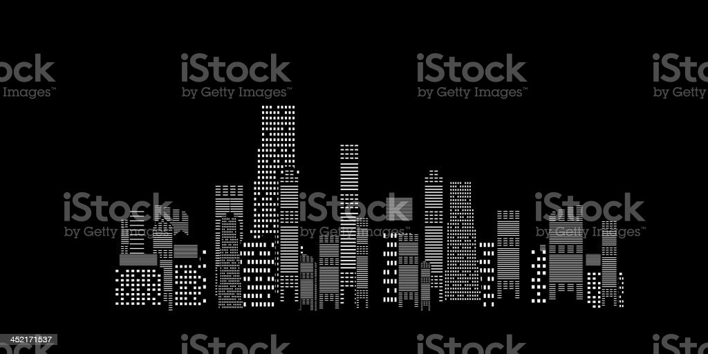 Illustration of a city skyline on a black background vector art illustration