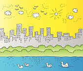 Illustration of a city skyline with ducks swimming by