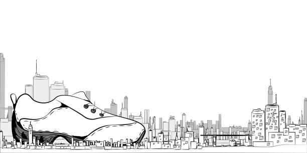 城市的例證以運動鞋為背景, 白色, 媒介 EPS10向量藝術插圖