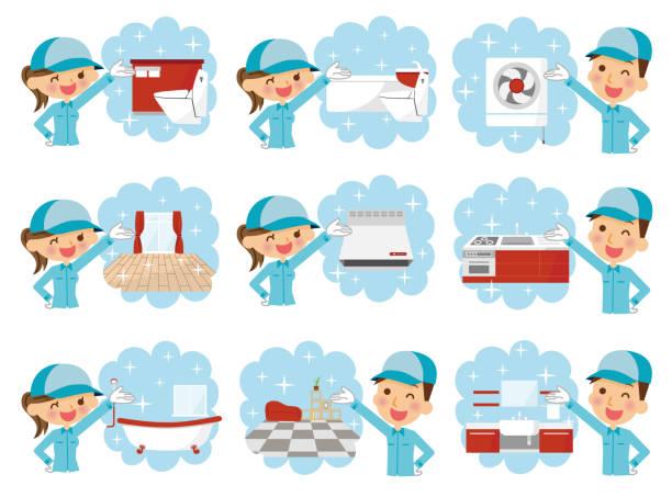 bildbanksillustrationer, clip art samt tecknat material och ikoner med illustration av en rengöring arbetare. - japanese bath woman