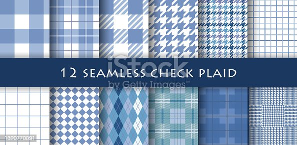 istock illustration of a collection of 12 check patterns. 1320770091