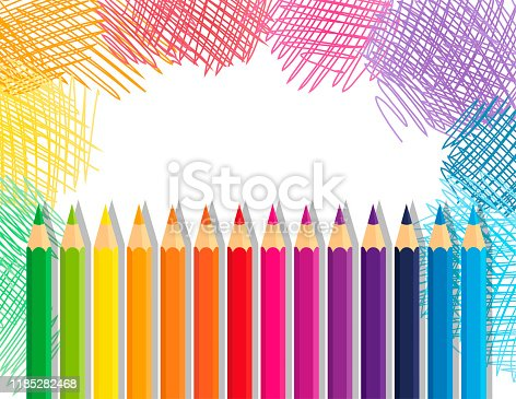 Vector collection crayons colored pencil loosely arranged and sketchy background