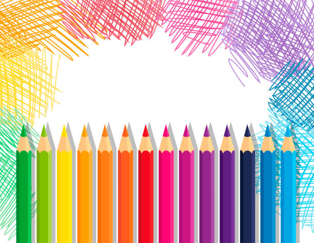 Illustration of a color pencils frame with space for text. Vector collection crayons colored pencil loosely arranged and sketchy background school supplies border stock illustrations