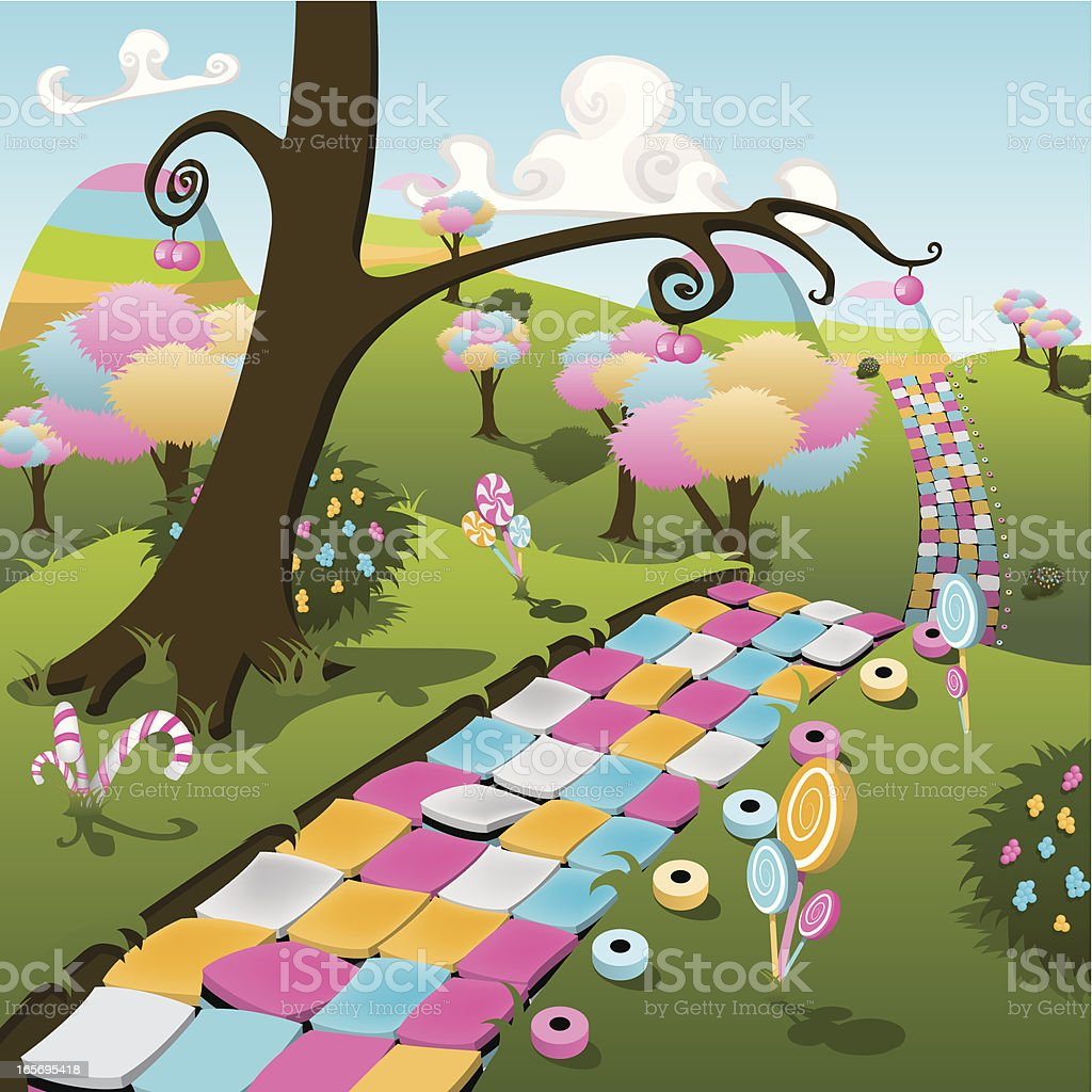 Illustration of a colorful candy land paradise vector art illustration