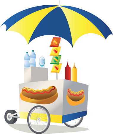 Illustration of a colorful hot dog stand