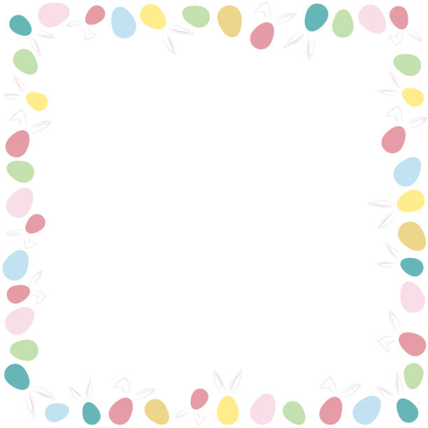 Illustration of a combination of rabbit ears and Easter eggs in a square frame. vector art illustration