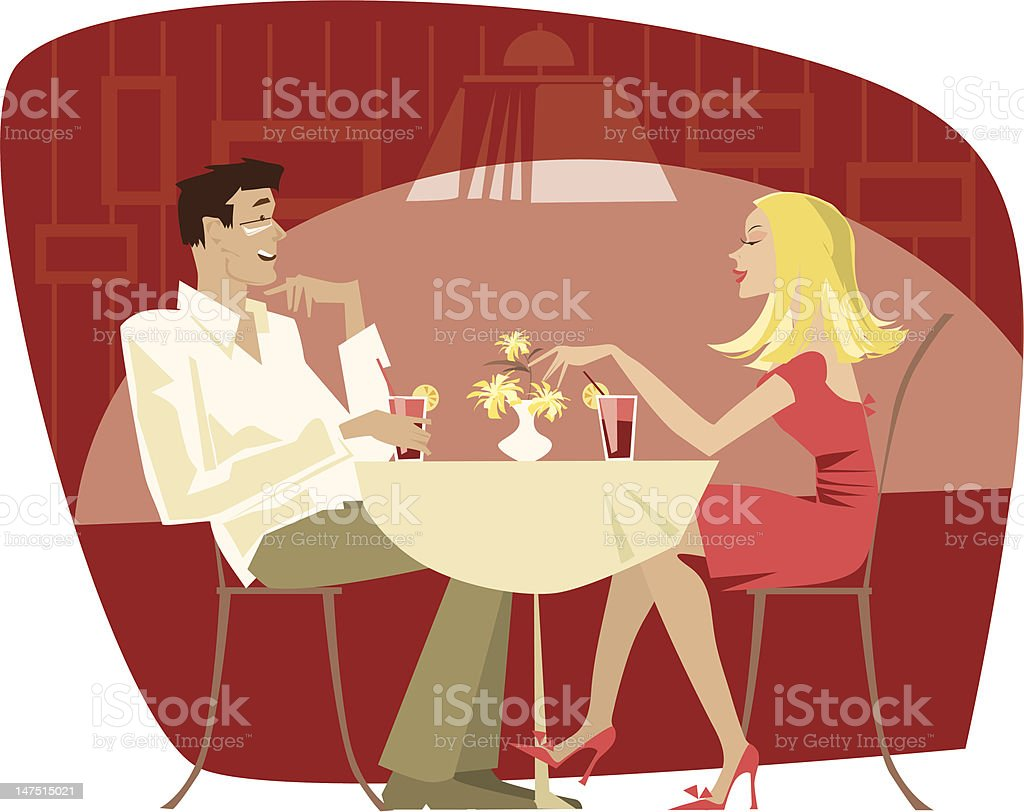 Illustration of a couple at a cafe vector art illustration