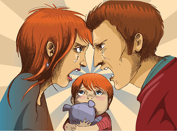illustration of a couple fighting with a child between them - domestic violence stock illustrations