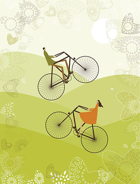 Illustration of a couple riding a bike though the mountain vector art illustration