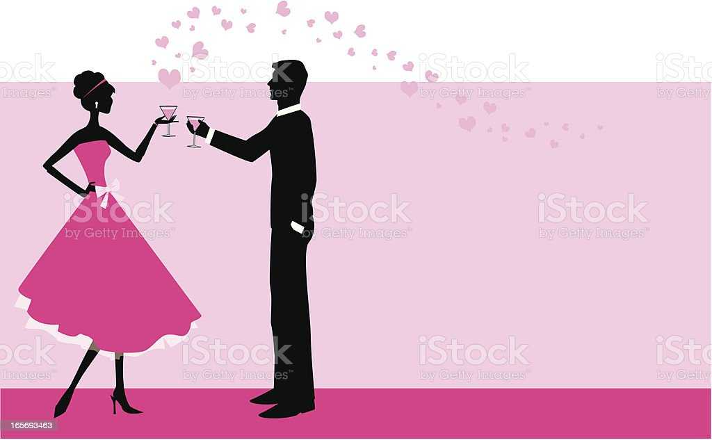 Illustration of a couple toasting with pink hearts floating royalty-free stock vector art