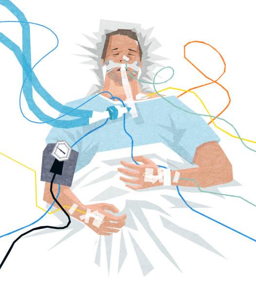 Illustration of a COVID-19 patient in the hospital on a ventilator vector art illustration