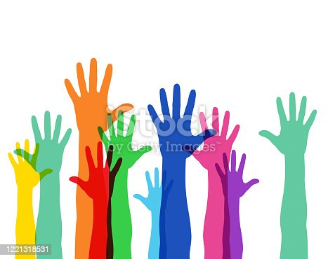 istock Illustration of a crowd raising hands 1221318531