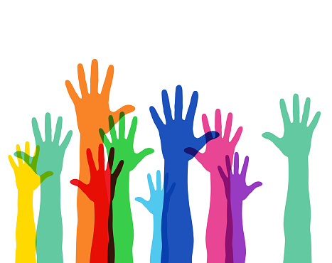 Illustration of a crowd raising hands, colorful