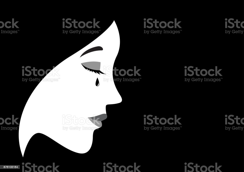 Illustration of a crying woman vector art illustration