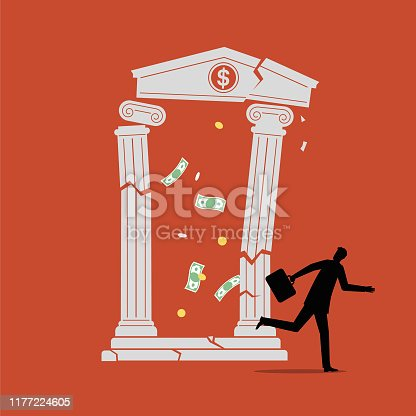 istock Illustration of a customer running away as his bank collapses 1177224605
