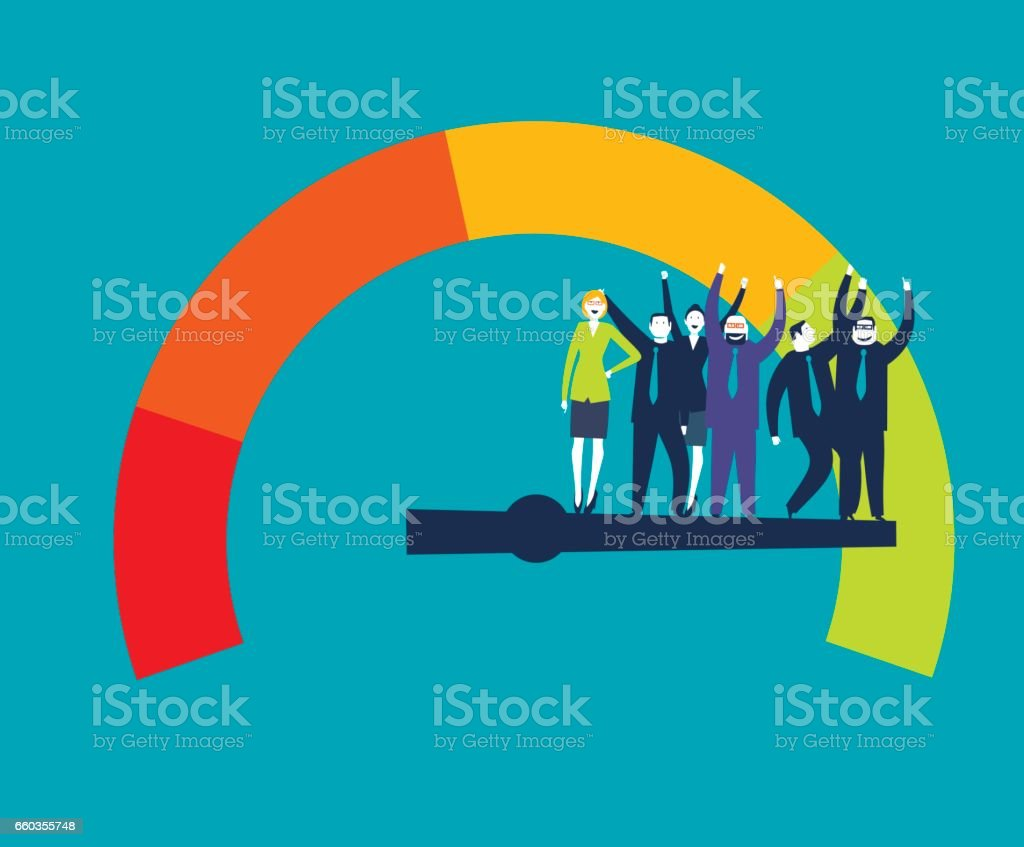 Illustration of a customer satisfaction meter with Businesspeople vector art illustration