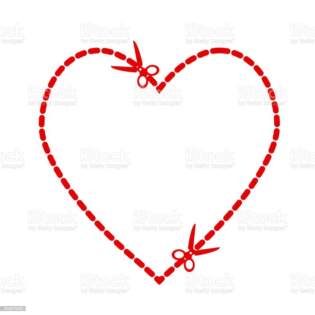 Beispiel Für Einen Ausschnitt Rotes Herz Symbolform Mit Einer Schere ...