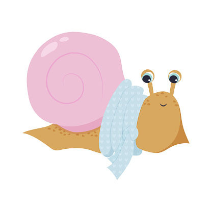 Illustration of a cute beige snail with a pink shell in a blue scarf.
