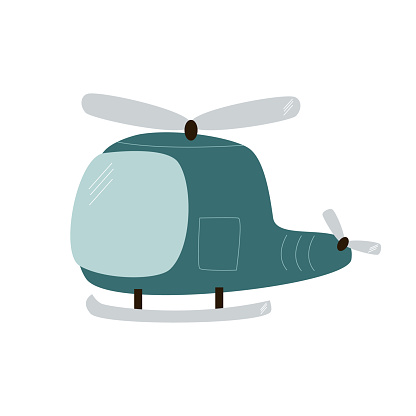 illustration of a cute blue helicopter on a white background.