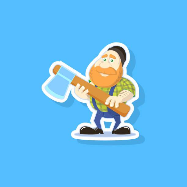illustrations, cliparts, dessins animés et icônes de illustration d'un bûcheron de dessin animé mignon avec une hache - man axe wood