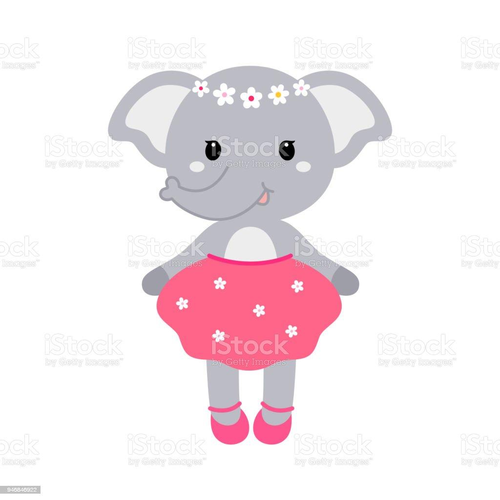 ドレスを着たかわいい面白い象の女の子のイラスト子供のプリントのための