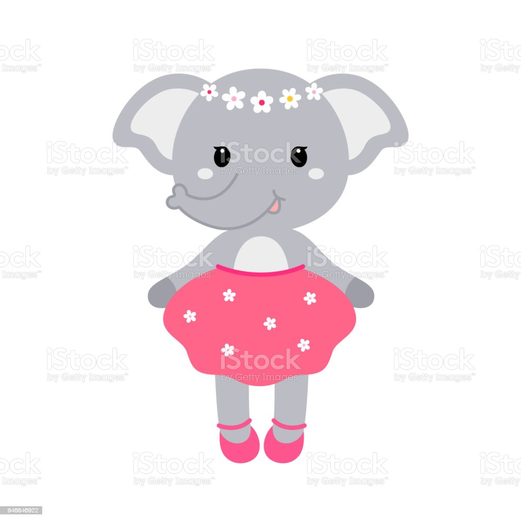 Illustration of a cute funny elephant girl in a dress. Concept for children print. vector art illustration