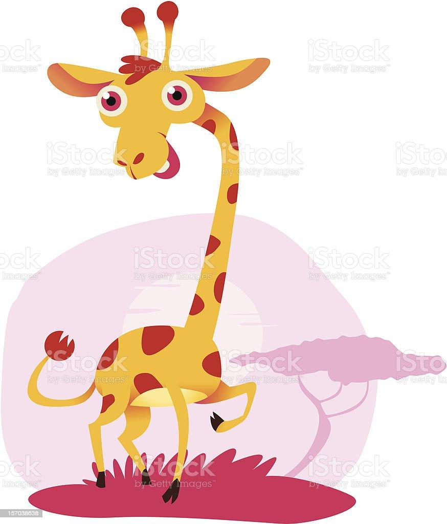 illustration of a cute, goofy-looking giraffe royalty-free stock vector art