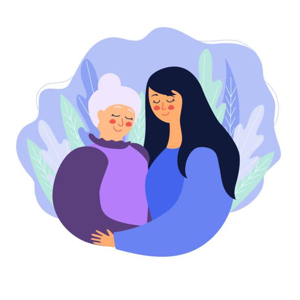 ilustraciones, imágenes clip art, dibujos animados e iconos de stock de ilustración de una linda abuela e hija mujer abrazándose contra - hija