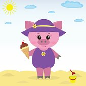Illustration of a cute piggy on the beach with ice cream