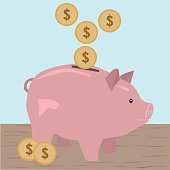 Illustration of a cute pink piggy bank icon.