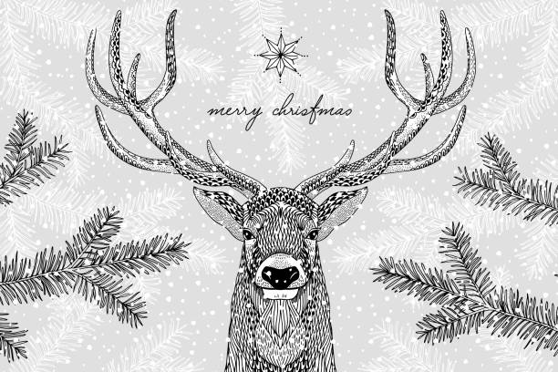 Illustration of a cute reindeer in winter - Christmas card vector art illustration