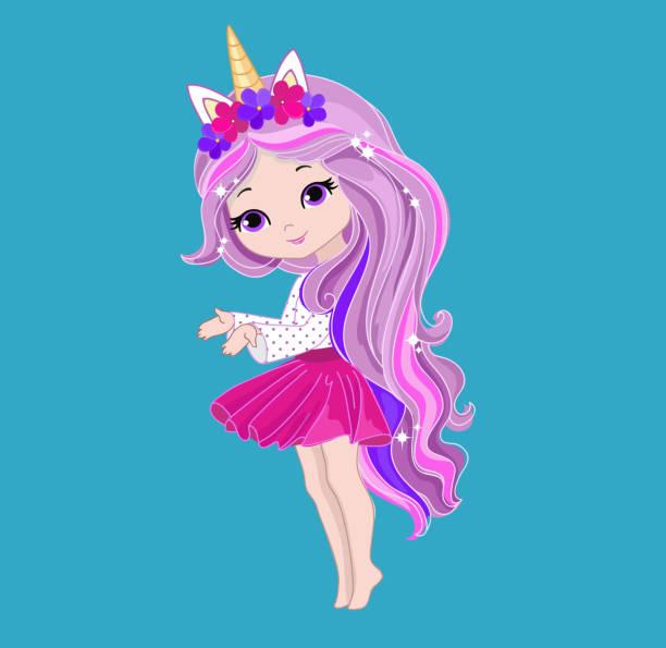 bildbanksillustrationer, clip art samt tecknat material och ikoner med illustration av en söt enhörning flicka. - sparkle teen girl