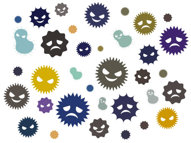 Illustration of a cute virus Illustration of a cute virus unhygienic stock illustrations