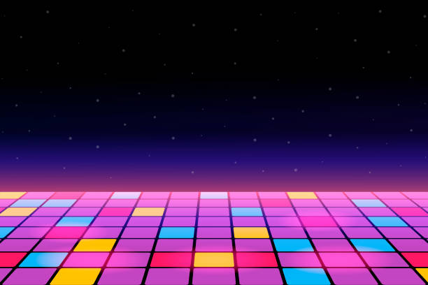 Illustration of a dance floor amongst starry open space. Vector. Illustration of a dance floor amongst starry open space. Vector. entertainment club stock illustrations