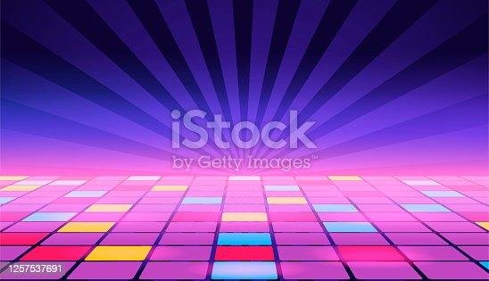 istock Illustration of a dance floor amongst starry open space. Vector. 1257537691