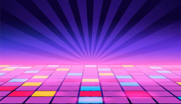 Illustration of a dance floor amongst starry open space. Vector. Illustration of a dance floor amongst starry open space. Vector. nightclub stock illustrations