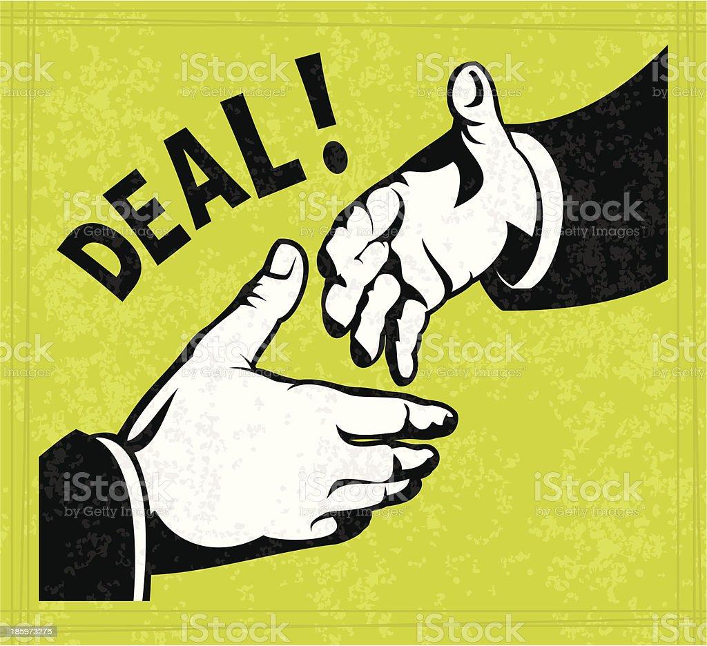 A illustration of a deal being made via handshake vector art illustration