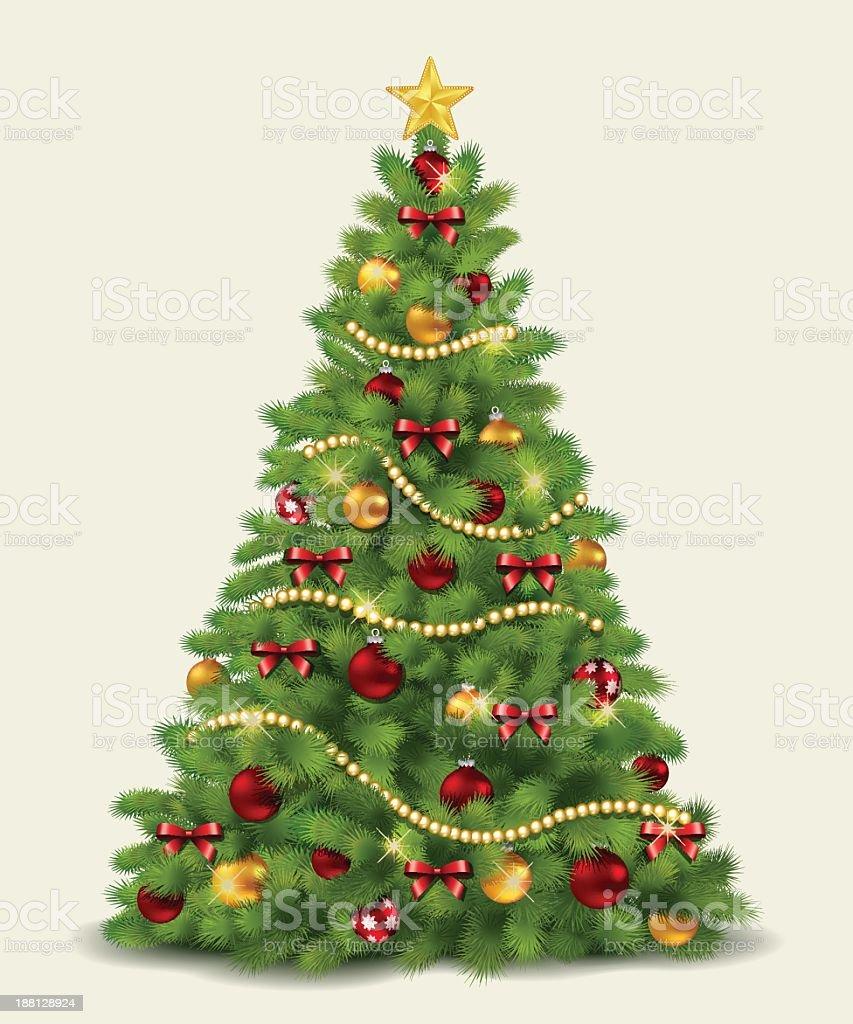 Illustration of a decorated Christmas tree vector art illustration