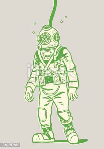 istock Illustration of a deep sea diver 180292882