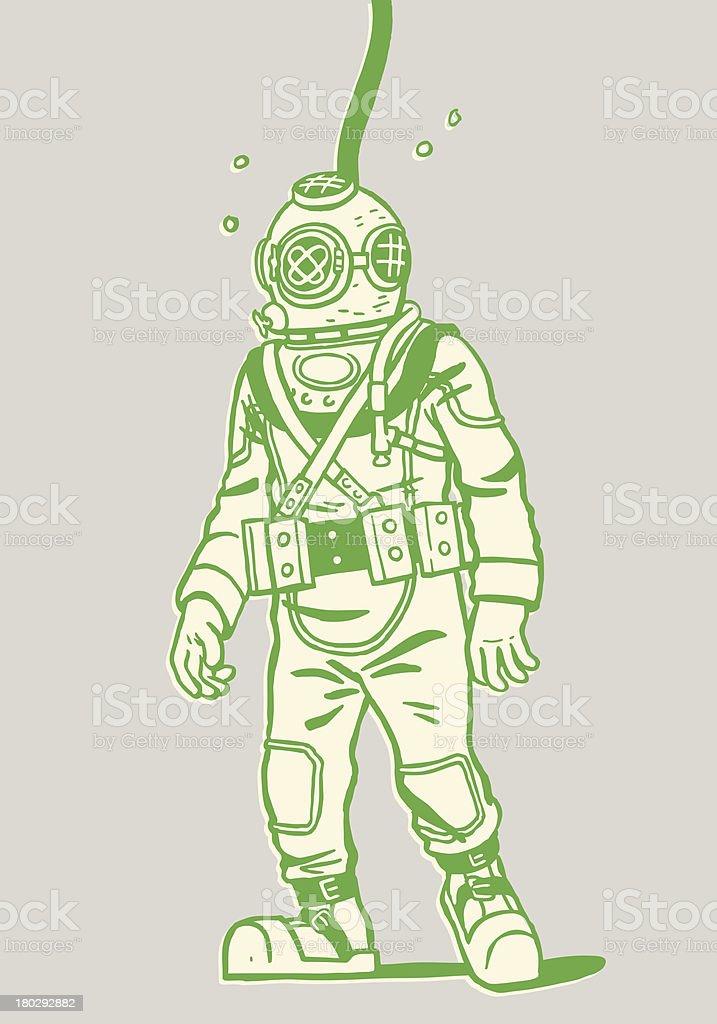 Illustration of a deep sea diver vector art illustration