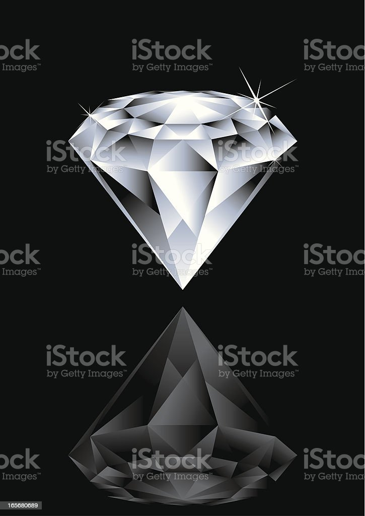 Illustration of a diamond and its reflex on black background royalty-free illustration of a diamond and its reflex on black background stock vector art & more images of beauty