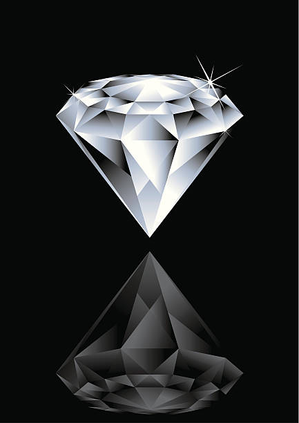 Illustration of a diamond and its reflex on black background Vector illustration of Diamond. Change colour to the Diamond is easy, its done by single gradient tone only. Simply select the whole Diamond and change the gradient's colour. diamond stock illustrations