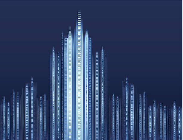 Illustration of a digital cityscape in blue scale vector art illustration