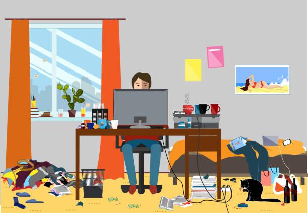 ゴミの部分が散らばってまとまりのない部屋のイラスト。若い i.t. 男、bachelur、学生の住む部屋 - 楽しい 洗濯点のイラスト素材/クリップアート素材/マンガ素材/アイコン素材