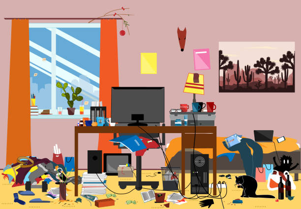 illustrazioni stock, clip art, cartoni animati e icone di tendenza di illustration of a disorganized room littered with pieces of trash. room where youngguy or student lives - disordinato