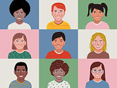 istock Illustration of a diverse group of children in a video conference on device screen 1280995074