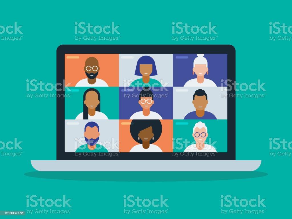 筆記型電腦螢幕上視訊會議中不同組朋友或同事的插圖 - 免版稅互聯網瀏覽器圖庫向量圖形