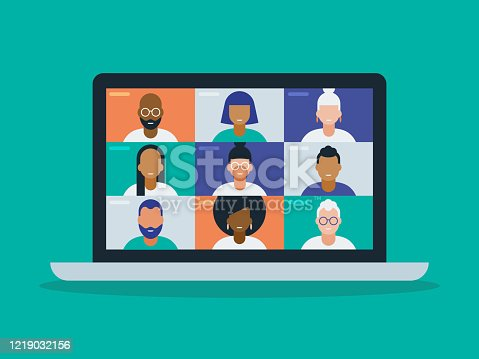 istock Illustration of a diverse group of friends or colleagues in a video conference on laptop computer screen 1219032156