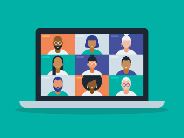 illustration of a diverse group of friends or colleagues in a video conference on laptop computer screen - virtual meeting stock illustrations