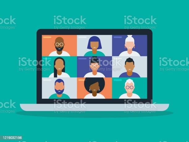 筆記型電腦螢幕上視訊會議中不同組朋友或同事的插圖向量圖形及更多互聯網瀏覽器圖片
